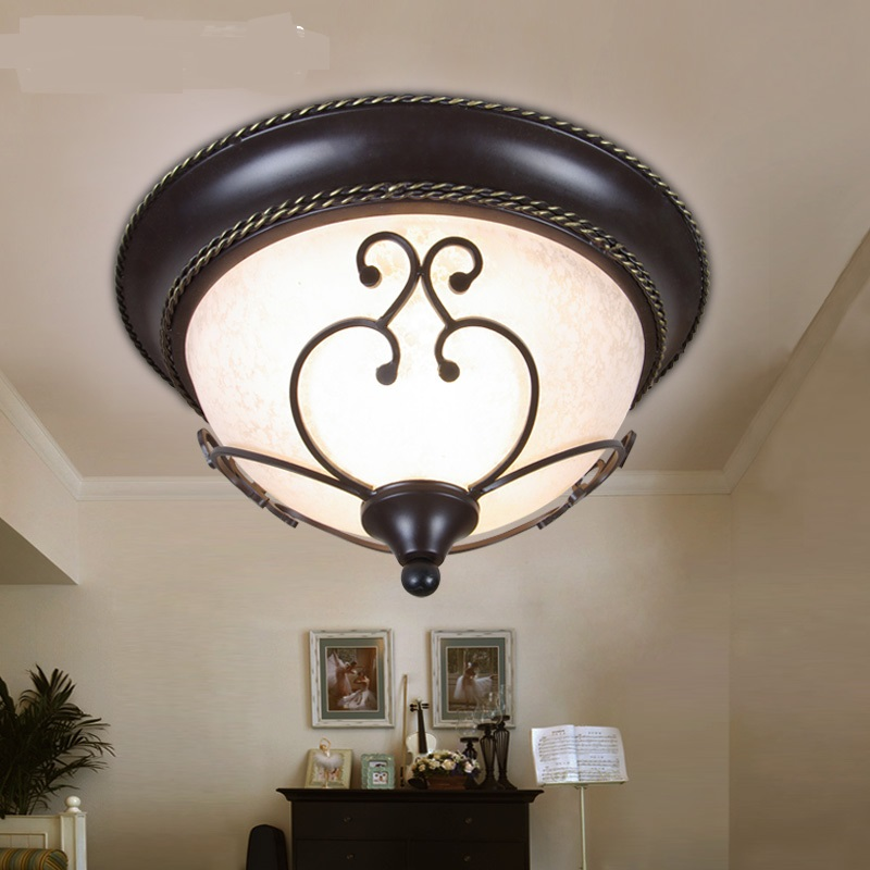 Bedroom lamp pastoral lace iron modern simple European dome light hall foyer restaurant lighting ceiling lamp LO71815