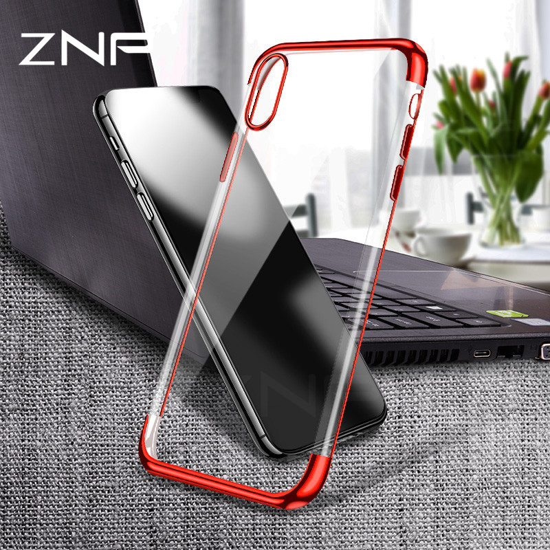 ZNP soft TPU case for iPhone X cases ultra thin transparent plating shining case for iPhone X Mixed silicon cover