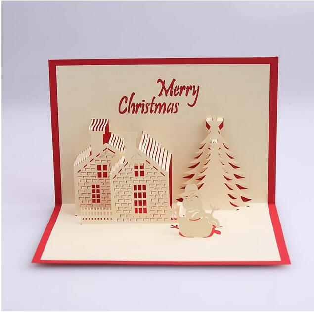 Us 19 48 10 Off 10pcs Lot New Creative Creative 3d Stereo Christmas Greeting Card Christmas House Blessing Card Christmas Invitation Card In Cards