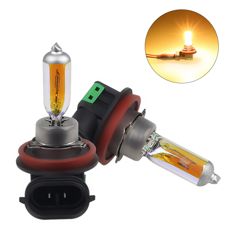 2pcs High Power 55w Car Headlights Halogen Bulb H11 55W 12V 2300K Gold Yellow Halogen Fog Lights H11 55w Car Light Source