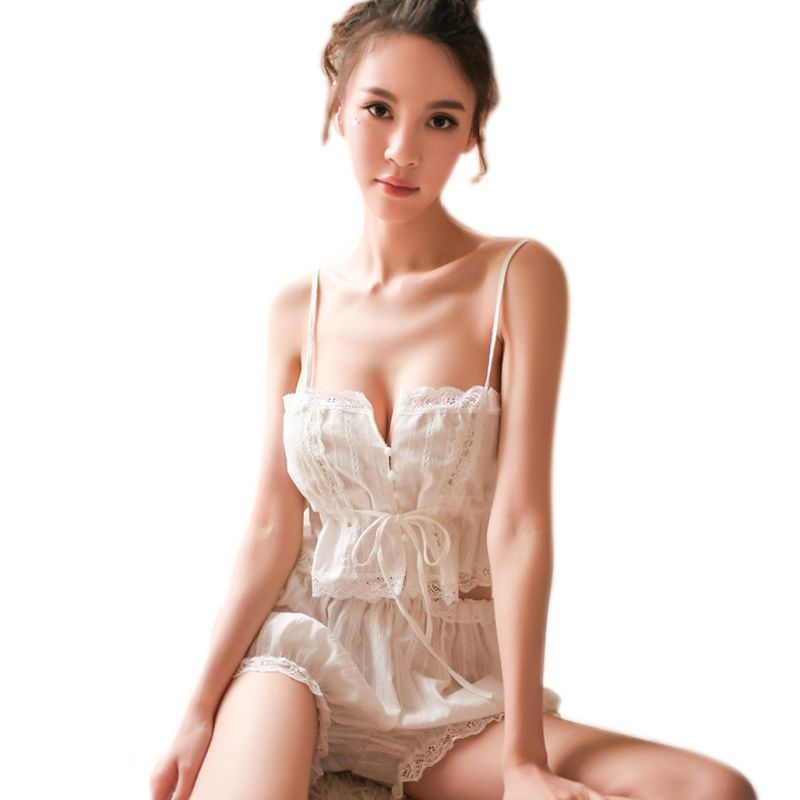 Womens Sexy Lingerie Pajamas Set Button Up Drawstring Crop Top Camisole Ruffled Lace Bloomers Sleepwear