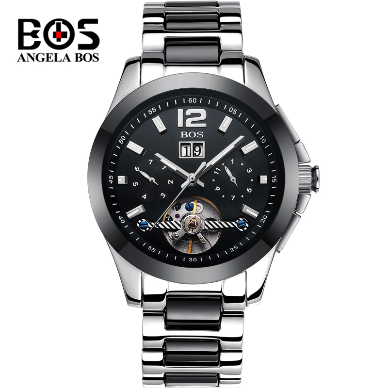 Relogio Masculino ANGELA BOS Tourbillon Watch Men Waterproof Sapphire Military Mechanical Automatic Wrist Watch Clock Man