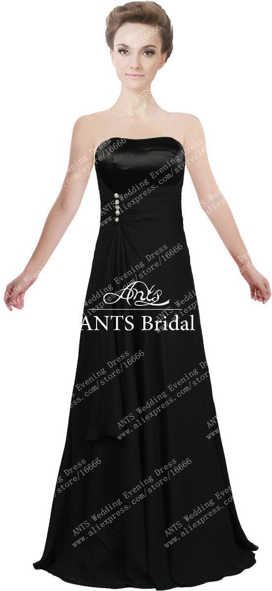 Ladies Strapless A Line Long Simple Cheap Evening Gown Black X279-in ...