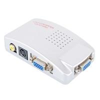 Mini VGA to AV Connector Signal Adapter Converter Video Switch Box Composite for Computer Laptop PC PAL VGA to TV AV RCA