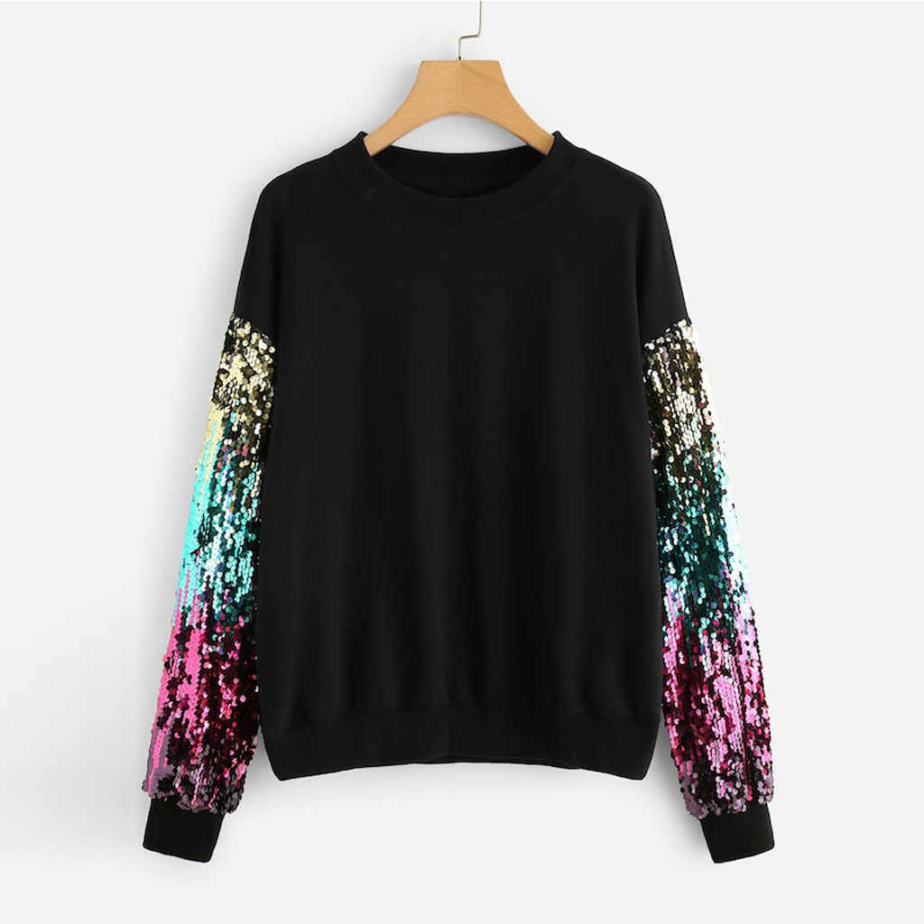 2019 Fashion Spring Women Hoodies Casual Long Sleeve Sequins O-Neck Sweatshirt Autumn Ladies Pullover Top Blouse
