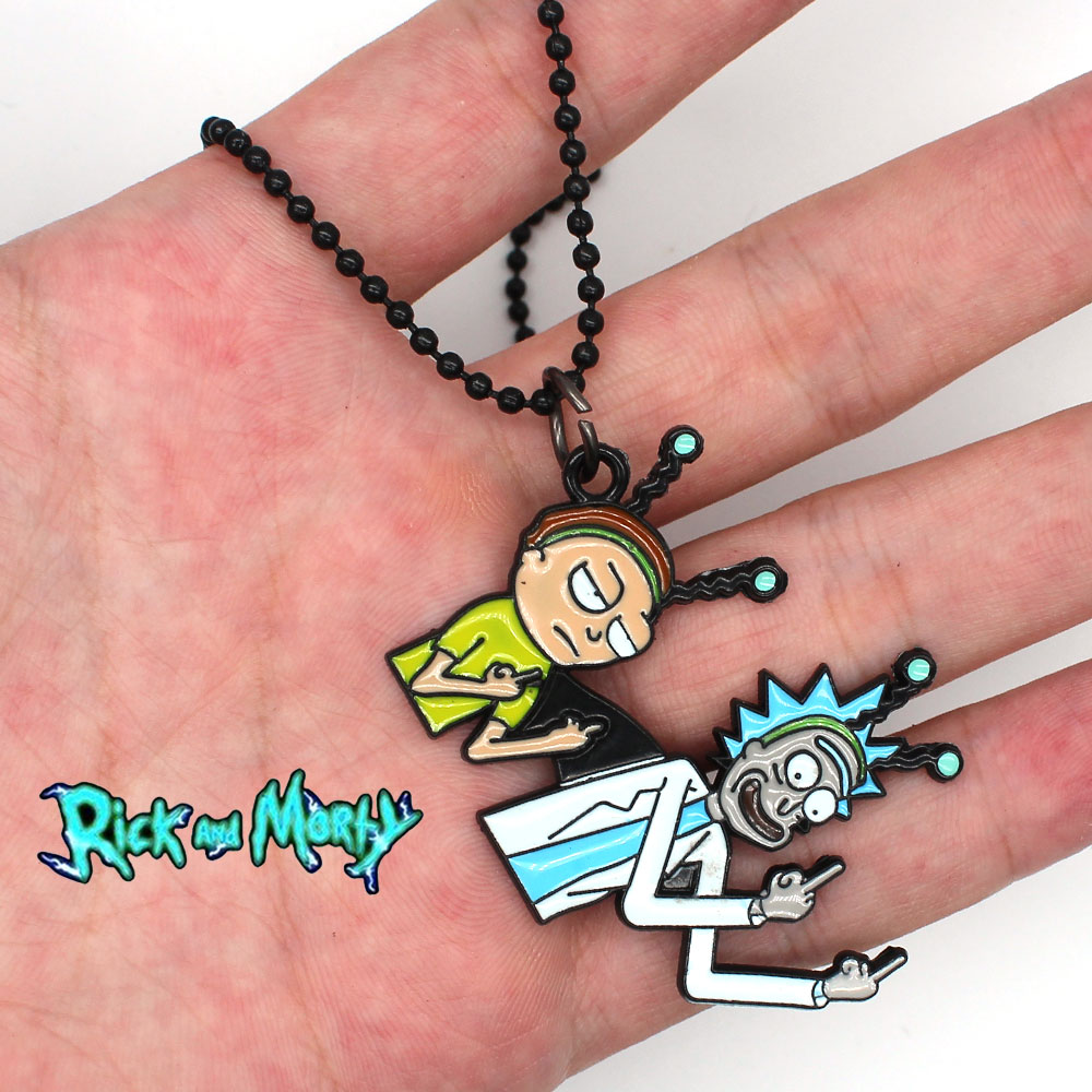 2018 New Anime Rick and Mori Costume Cosplay Keychain Keyring Necklace Pendant Accessory Collection Gift