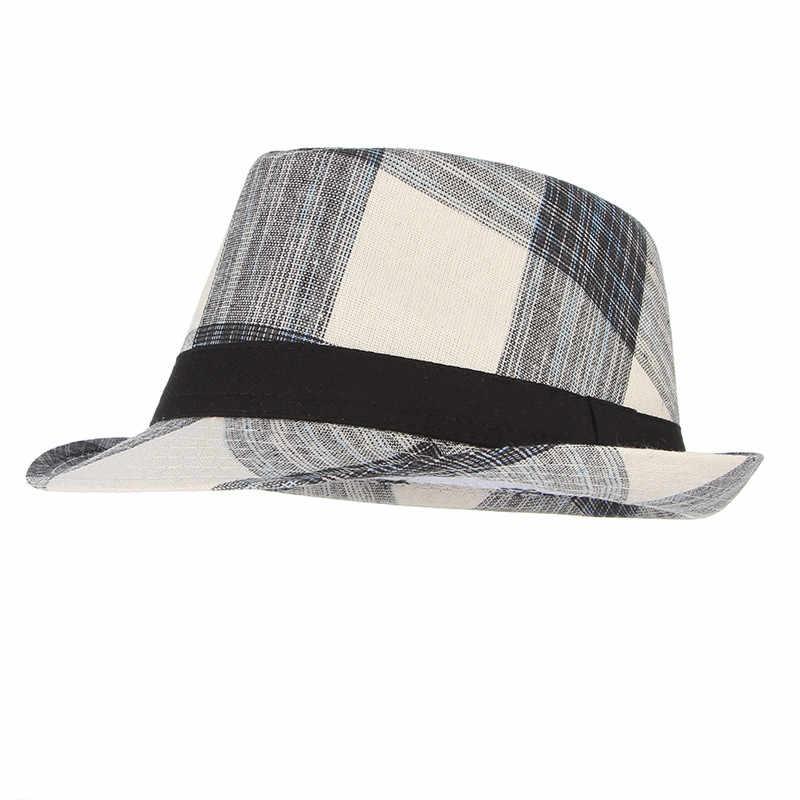 8ca7a7326feb4 ... Cotton Men Wide Brim Summer Hat Plaid Fedoras Derby Bowler Hat Male  Jazz Gangster Caps Panama ...