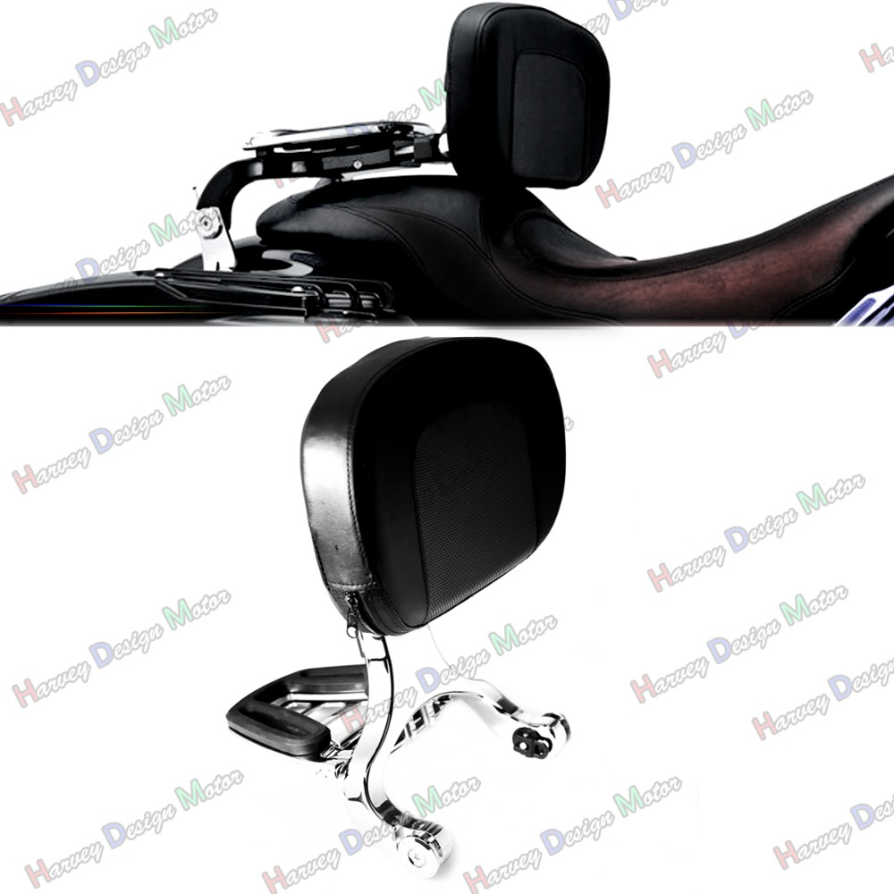Chrome Multi Purpose Adjustable Driver & Passenger Backrest For Harley Touring Street Glide Road King Softail купить в Москве 2019