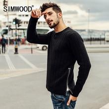 Simwood Новинка 2017 на осень-зиму свитер мужчин модные пуловеры Круглая горловина Slim Fit Марка одежды Kintted MY2053