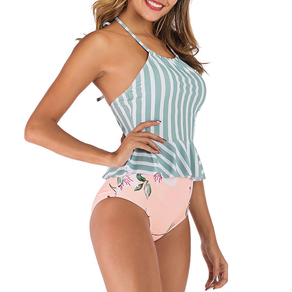 Tankini Sets with Boy Shorts Women Ladies Bikini Set Swimwear Push-Up Padded Bra