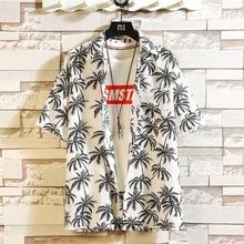 Print Brand Summer Hot Sell Mens Beach Shirt Fashion Short Sleeve Floral Loose Casual Shirts Plus Asian SIZE M-4XL 5XL Hawaiian