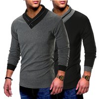 Fashion New Brand Men's Slim V Neck Stitching Personality Collar Men's Long Sleeved Jacket