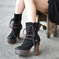 Artmu Fashion Winter High Heels Women Boots Lace Up Cowhide Woman Shoes Genuine Leather Handmade Super 11 cm High Heels Fashion