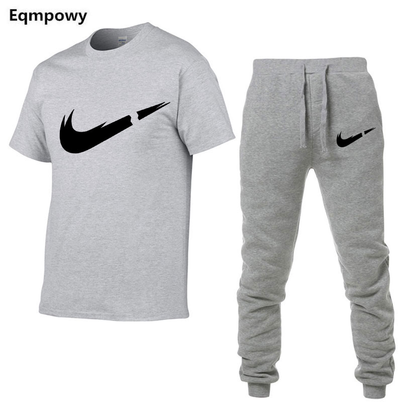 HTB1GKKWN7zoK1RjSZFlq6yi4VXal 2019 Summer New Men's T shirt Tracksuit Casual Suits gym Clothing Man Sets Tops+Pants Male sweatshirt Men Brand T Shirt Set