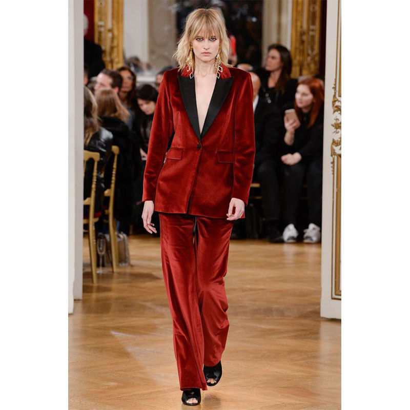 New Burgundy Women Business Suits Formal Office Suits Work Female Trouser Suit Show Costume B209