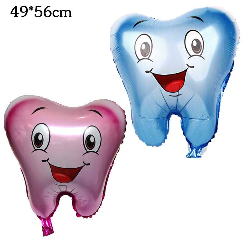 50 Pcs Tooth Air Foil Balloons kids lovely nflatable happy Birthday Party decorations baby shower party