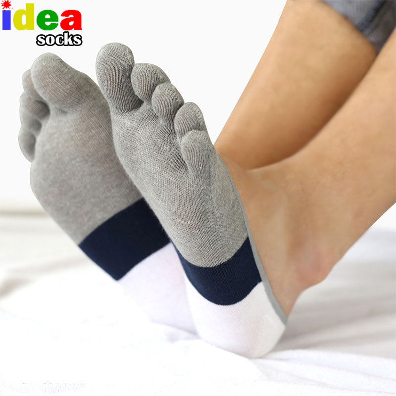 5 colors summer short mens no show socks cotton breathable toe socks casual five finger ankle socks calcetines de los hombres