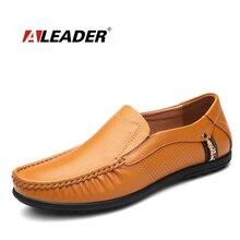 Aleader Tamaño Grande Para Hombre Zapatos de Cuero Genuinos Planos de Los Hombres Zapatos Casuales Mocasines Moda Zapatos de Conducción Mocasines Slip On Hombres Social