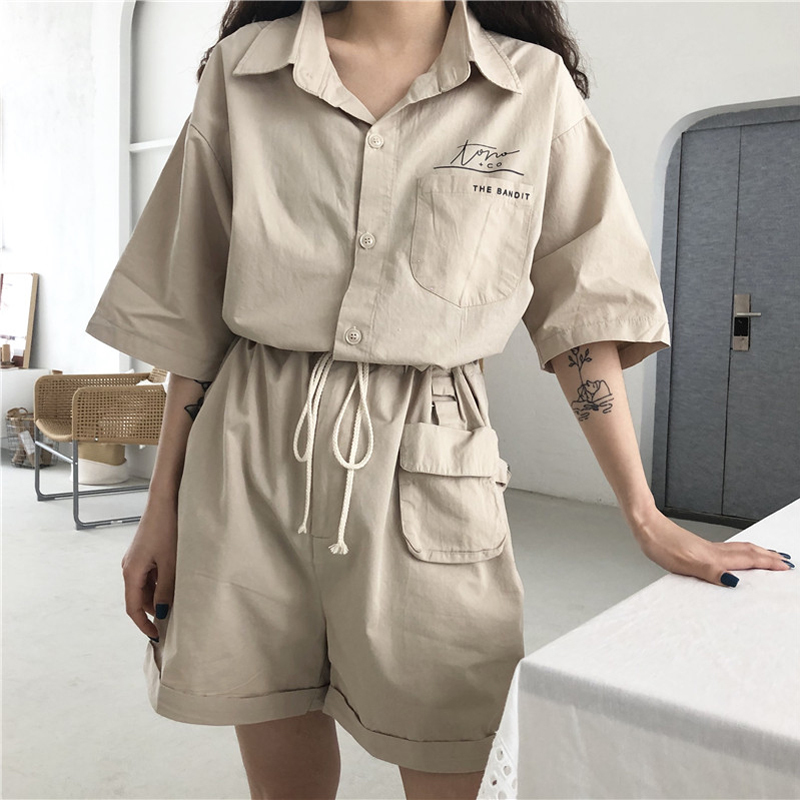 Safari Style Casual Playsuit Summer Women Short Sleeve Elastic Waist Cotton Fashion Overall Fashion Black Rompers Jumpsuit
