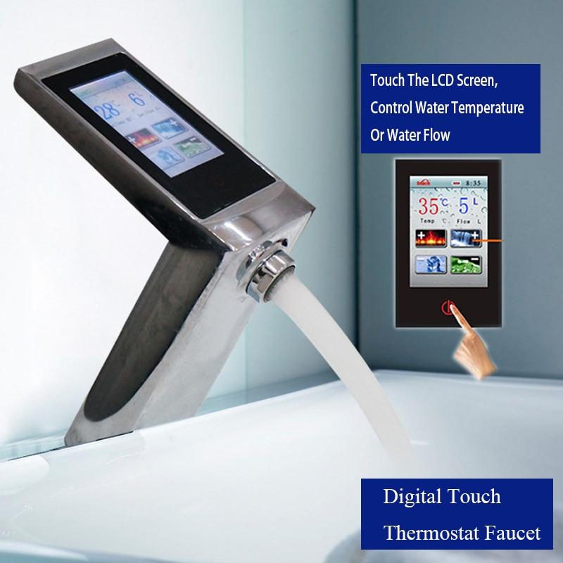 JMKWS De Luxe Écran Tactile Thermostat Bassin Évier Robinets Smart Display Débit D'eau Et la Température Tactile Lavabo Mélangeur Économie