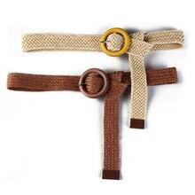 HATCYGGO Round Wooden Buckle Belts For Women Waist Belt Female Adjustable Woven Waistband Womens Black/Fashion Dress