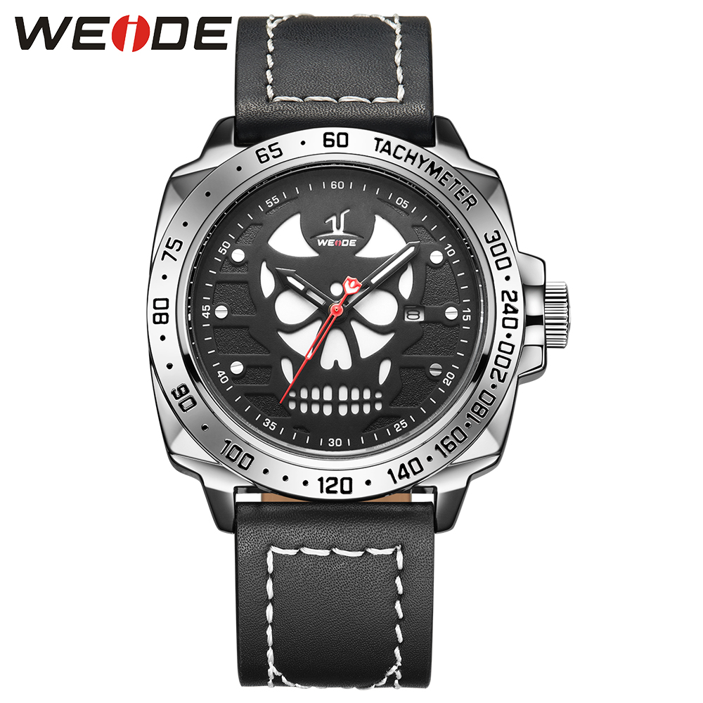WEIDE Men Black Analog Calendar Skull Dial Genuine Leather Band Quartz Date Day Buckle Hardlex Waterproof Military Watch weide men watches clock analog quartz movement calendar date black leather strap band buckle hardlex wristwatches for sport
