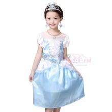New 2016 Girls Cinderella Princess Dress Kids Girl Movie cosplay costume custom Fairy Tail Dress fancy