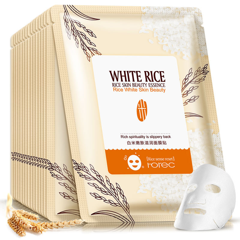 Rorec 1pcs Rice Essence Facial Mask Skin Care Face Mask Whitening Hydrating Moisturizing Hydra Condensate Skin Mask