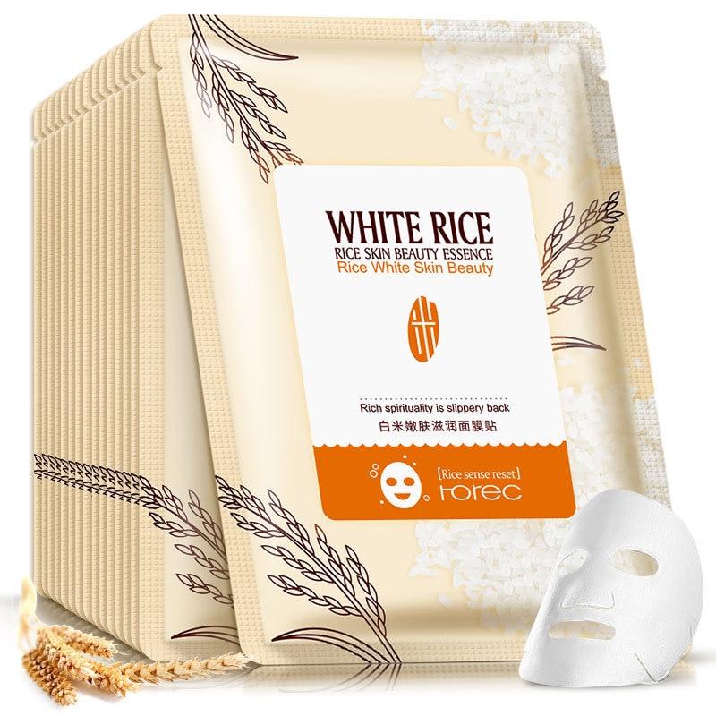 Rorec 1pcs Rice Essence Facial Mask Skin Care Face Mask Whitening Hydrating Moisturizing Hydra Condensate Skin Mask