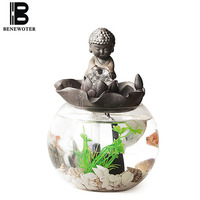 110V/220V Creative Little Monk Ceramic Flowing Water Fountain Office Living Room Desktop Decoration Fish Tank Water Feature Gift