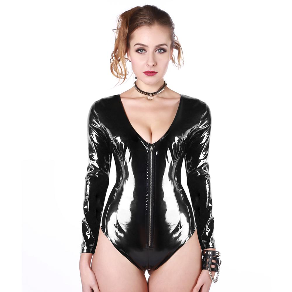 Women Sexy Exotic Bondage Nightclub PVC Teddy Bodysuit Lingerie Long Sleeves Shiny Zipper Pole Dancing Outfit