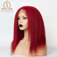 99J Color Yaki Kinky Straight Full Lace Wig Red 13x6 Lace Front Human Hair Wigs Pre Plucked Black Remy Hair For Women Nabeauty