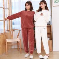 New 1Set ladies Winter Thick Warm soft Flannel pajamas suit Female Cartoon home sets QW 230