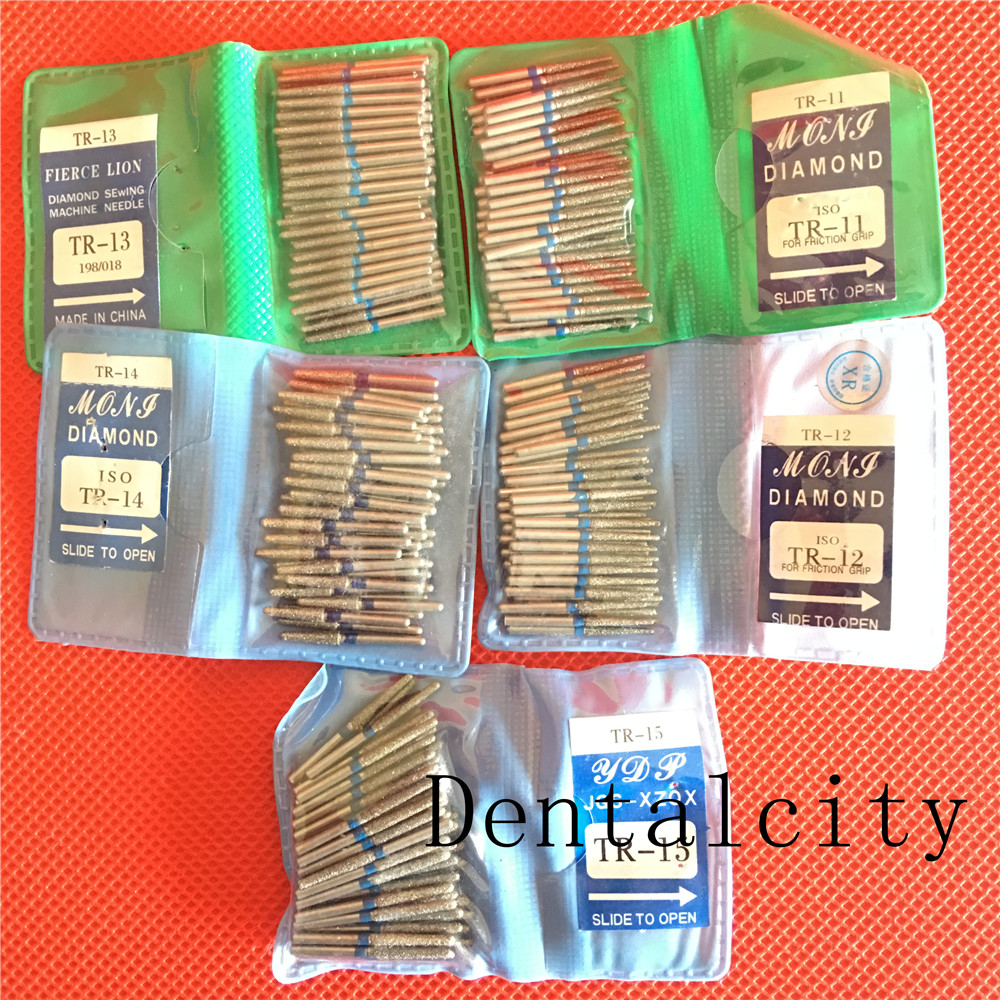 50PCS TR Dental Diamond FG High Speed Burs For Teeth Polishing 1.6mm