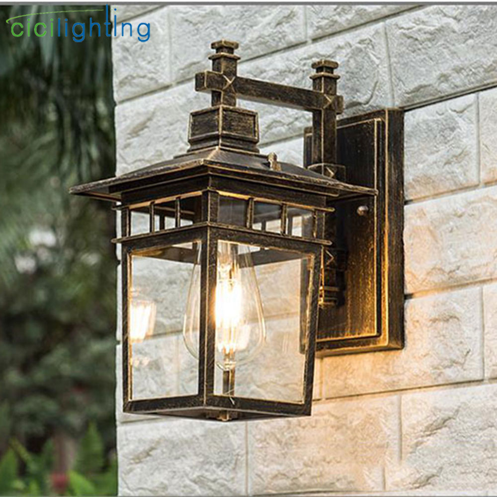 Vintage Art decoration outdoor porch lights Aluminum glass lampshade waterproof E27 wall lamp red bronze black