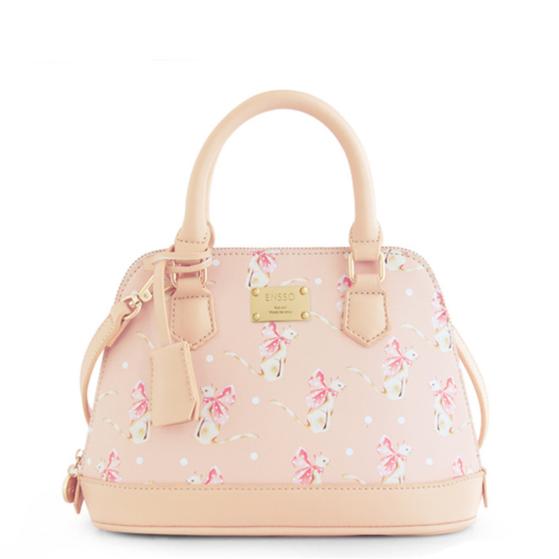 ENSSO  Lady Cat Baby Pink Girl Fashion Mori Shell Fairy Tale Bags Leather PU For Women's Handbags Messenger Bags Top-HandleTotes lady cat носки