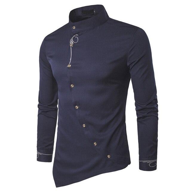 2018 moda nueva manga larga camisa masculina ropa para