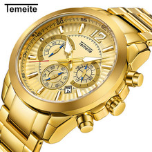 Temeite Luxury Gold Watch Men Stainless Steel Quartz Mens Watches Big Fashion Casual Wristwatch Calendar Male Watch цена и фото