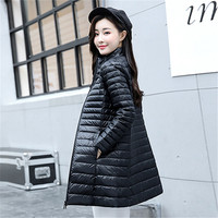 2019 Women's Down Coats Winter Fashion Pure Colour Thin Large Size Warm Women Duck Down Parkas Outerwear Long Jackets