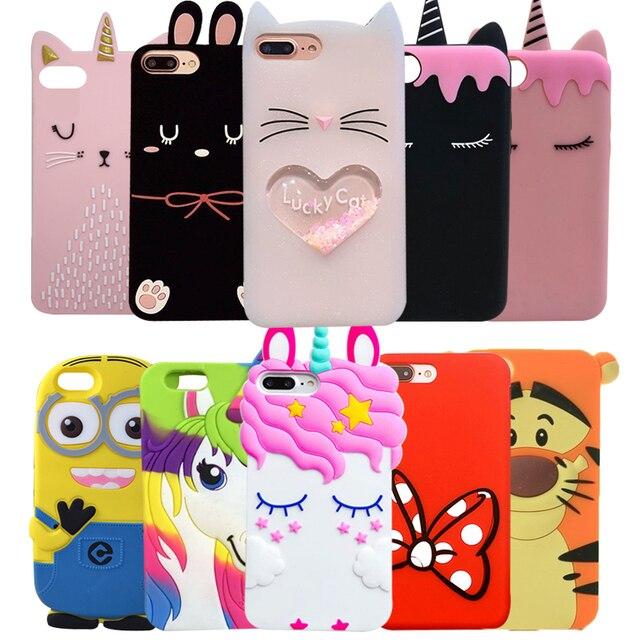 Funda de goma 3D Linda caricatura unicornio gato para iPhone 5S 5C 6 6 S Plus 7 7 Plus fundas suaves funda de silicona para iPhone X 8 8 Plus Capa