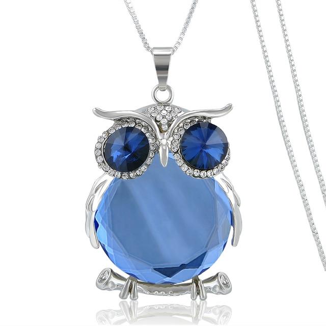 92008d06dcdd Caliente mujer cristal azul búho Colgantes plata oro cadena animal collar  largo del suéter de las