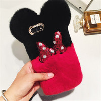 For Samsung S3 4 5 6 7 8Plus Luxury Top Rabbit Fur Panda Bear Ear Tail