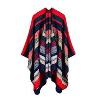 Vente chaude 2017 marque femmes poncho et capes automne et d'hiver écharpe en cachemire tricoté une couverture grande taille pashmina echarpe