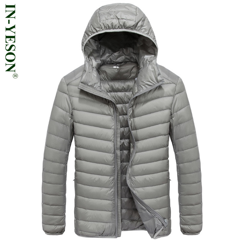 Hooded Ultra Light   Down   Jacket Men Brands IN-YESON Fashion Solid Warm 90% White Duck   Down     Coat   Men High Quality Men's   Down   Parka