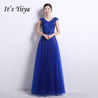 It S YiiYa Popular Short Sleeve V Neck Prom Dresses Bling Sequined Charming Bow Elegant Floor