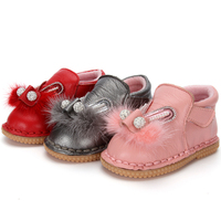 Girls Soft Cowhide Fabric Rabbit Head Pattern Casual Shoes Winter Warm Non Slip With Plush Girl