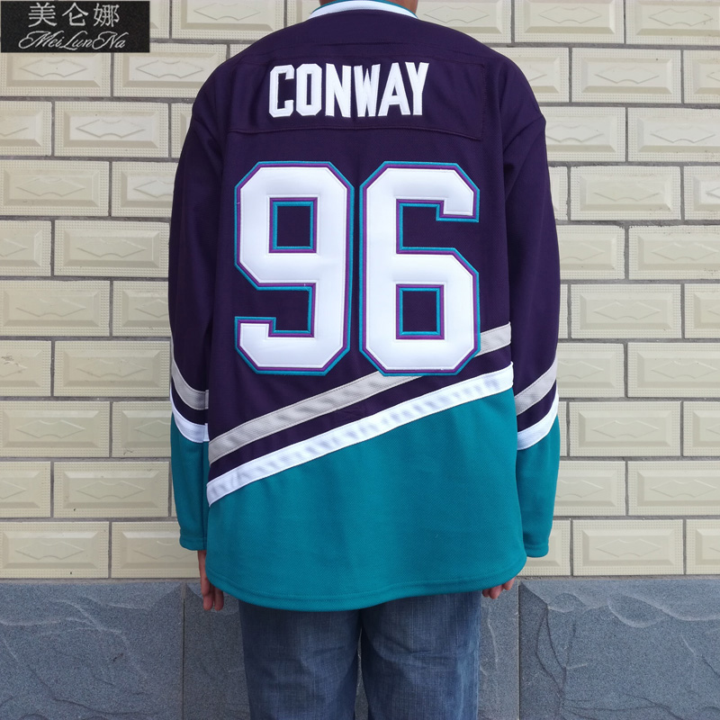 MeiLunNa Christmas Black Friday Mighty Team Ducks D3 Movie Jerseys #96 Charlie Conway Jersey 9605 Purple White USA Blue Green