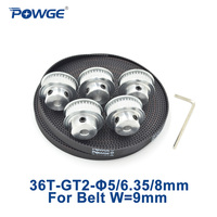 POWGE 5pcs 36 teeth GT2 Synchronous Pulley Bore 5mm 6.35mm 8mm + 5Meters width 9mm GT2 Synchronous Belt 2GT pulley 36T 36Teeth
