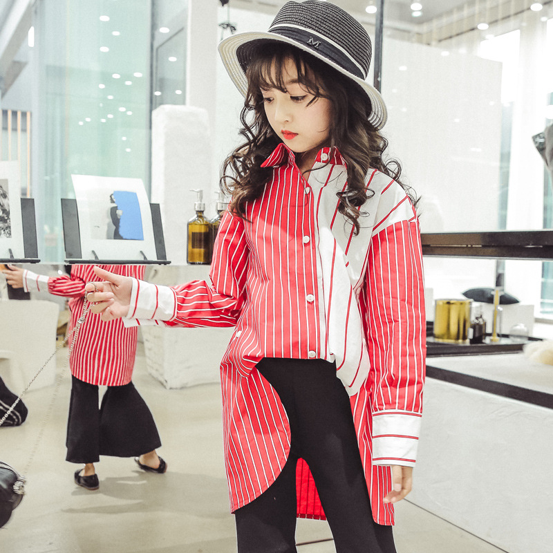 4 5 6 7 8 9 10 11 12 13 14 Years Striped Girl Blouse Long Sleeve Shirt Children Spring Wear 2018 New Girls Tops Meisjes Blouse trendy ruffled sleeve scoop neck striped blouse for women