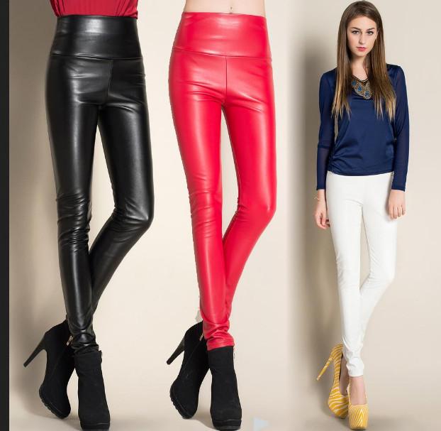 2016 Inverno Engrossar Couro PU mulheres calças de cintura alta elástico velo estiramento mulher Magro lápis calças de cores doces frete grátis